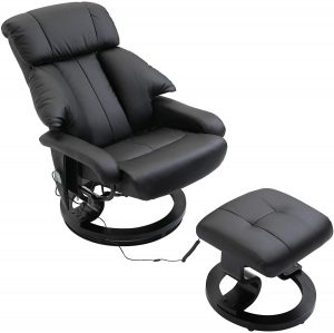 HOMCOM Recliner Sofa Electric Massage Chair with Foot Stool